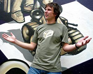 James models the men's green t-shirt