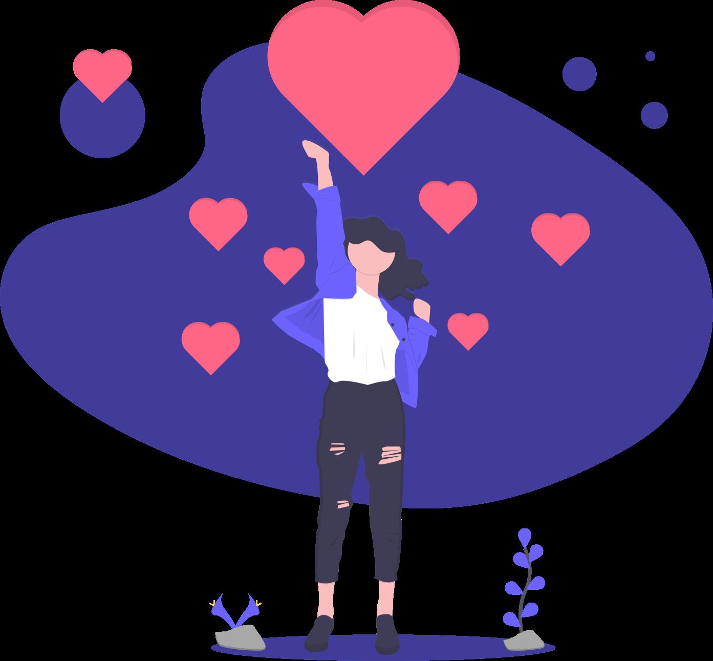 Desenho uma mullher mãos levantadas com um coração