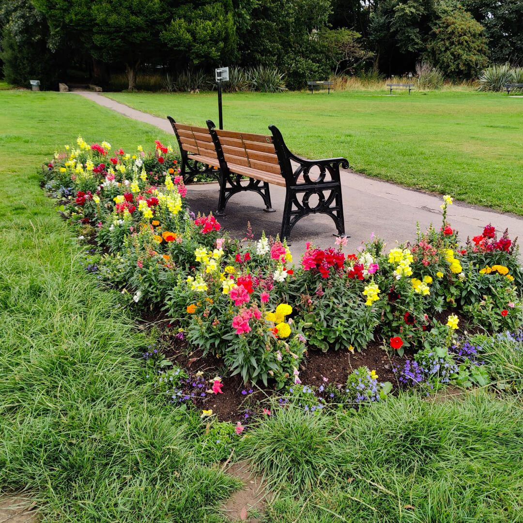 Horsforth Hall Park bench and flowers