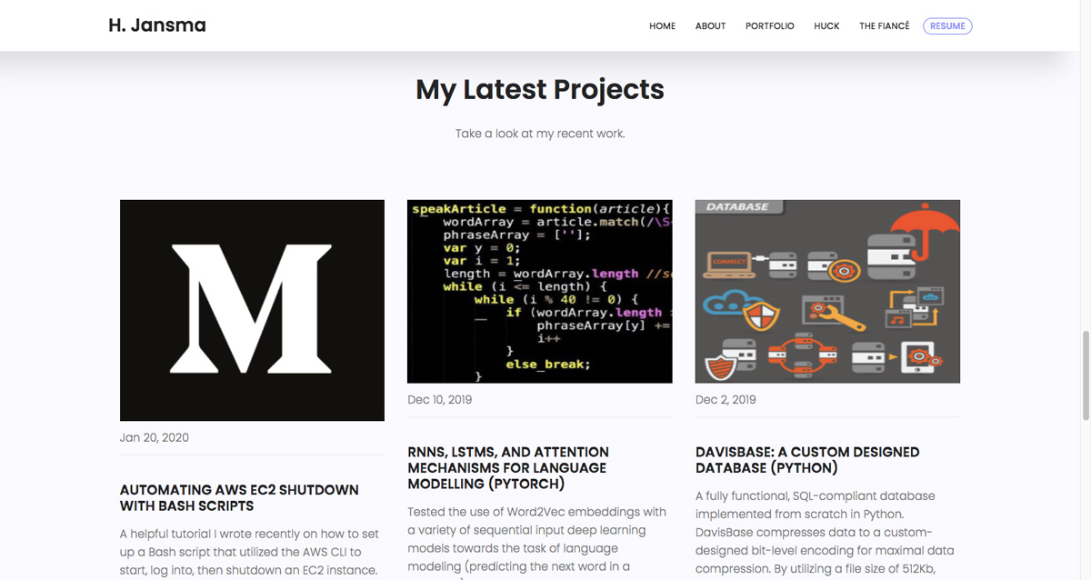 A screen grab from Harrison Jansma's data analytics portfolio showing his latest projects
