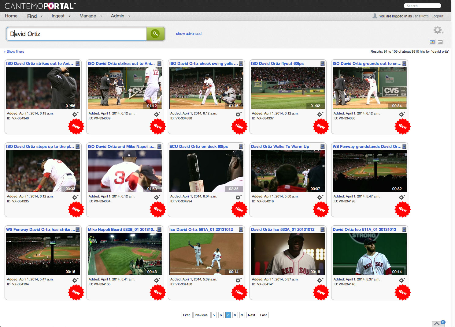 Boston Red Sox Cantemo Portal System screenshot