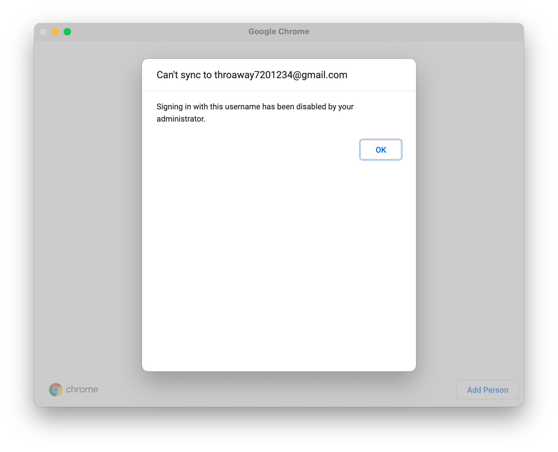 Chrome can't sign in
