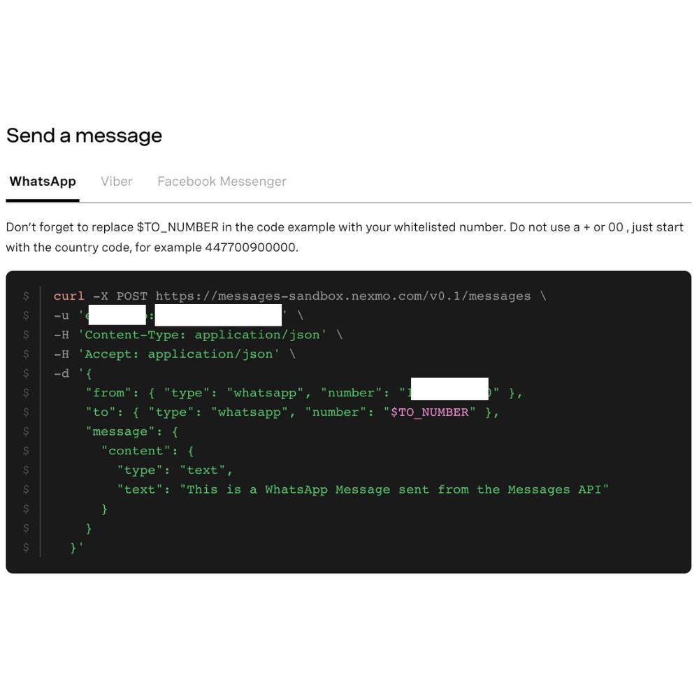 Example code for using the WhatsApp API