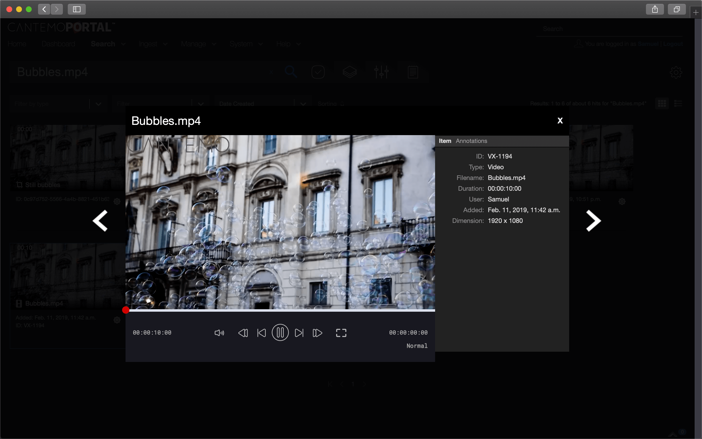 Cantemo Portal HTML5 video player