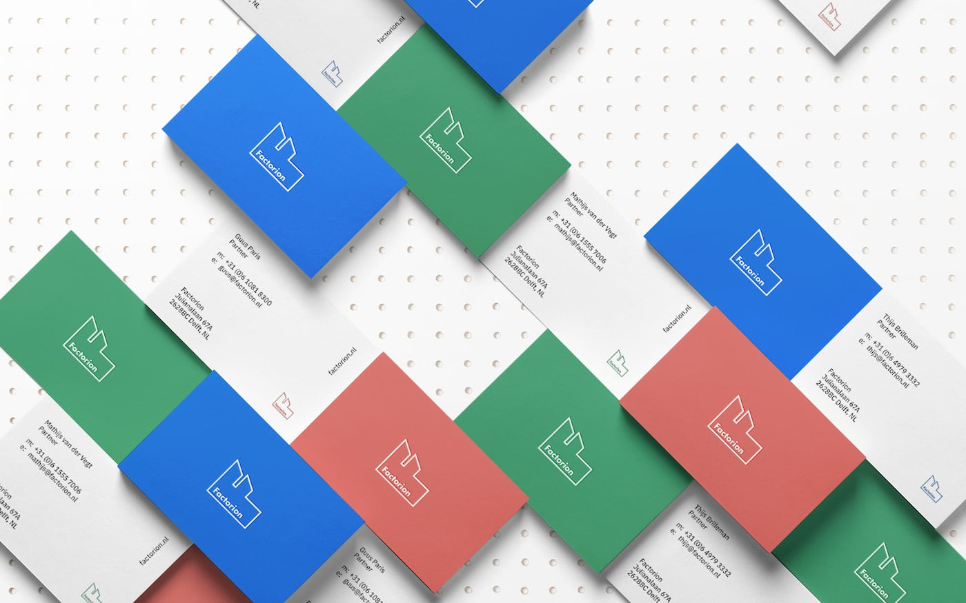 Factorion multi-colored business cards