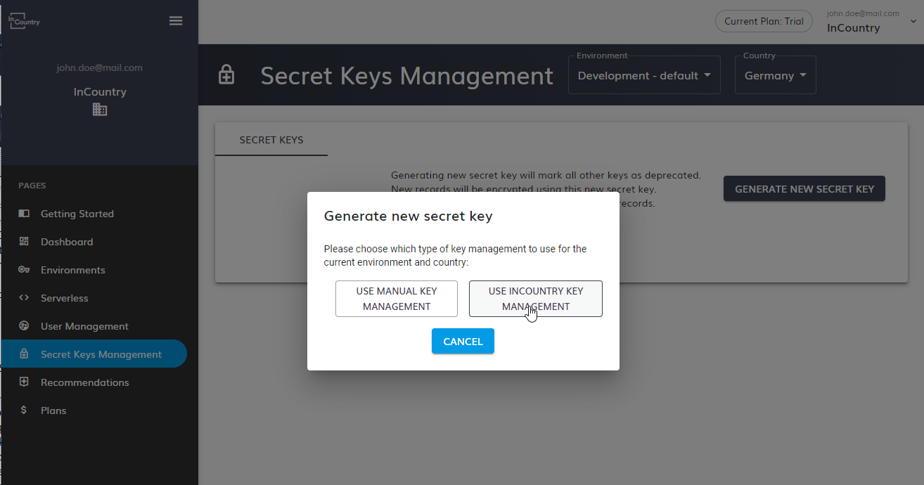 Use InCountry Key Management