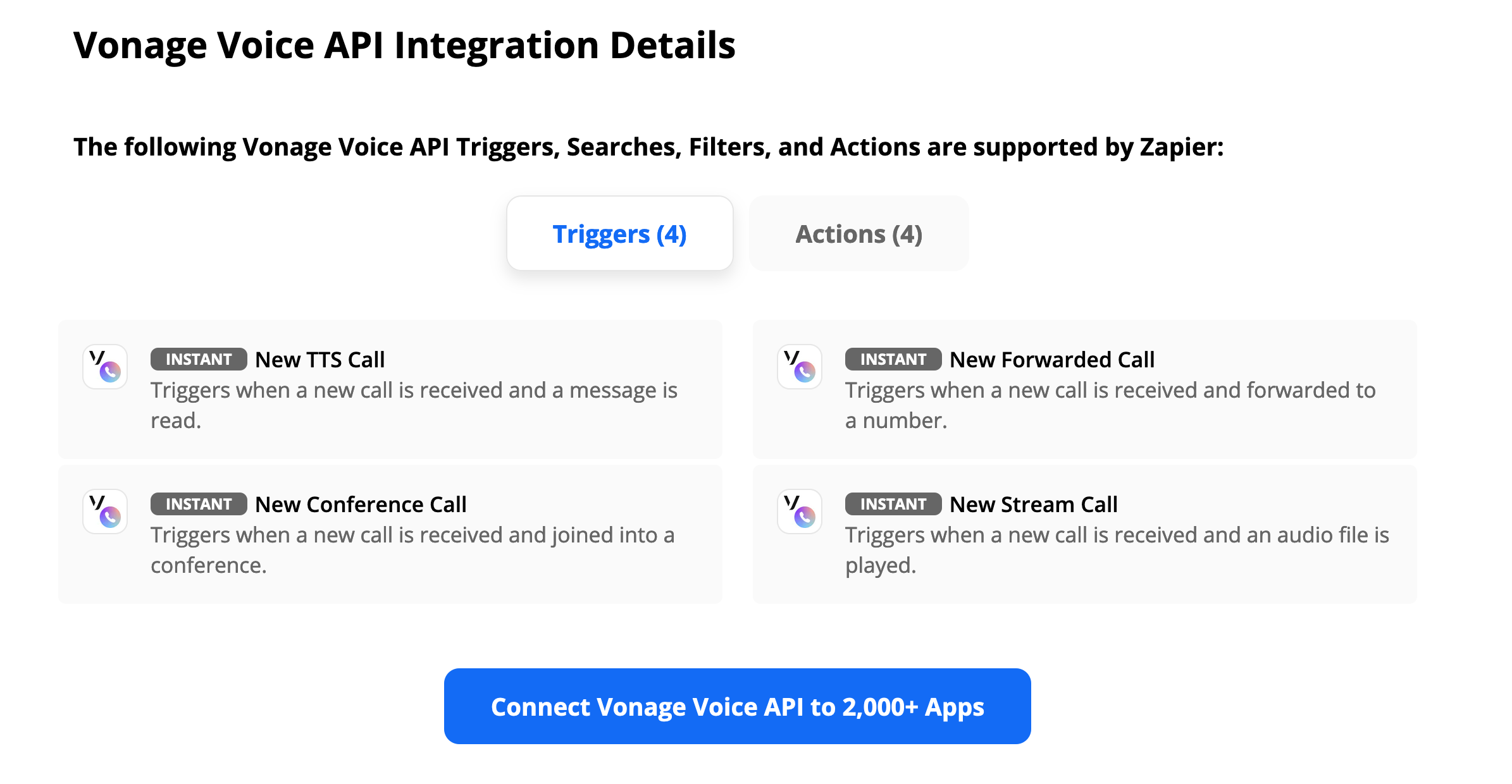 Screenshot featuring the Vonage Voice API triggers in Zapier