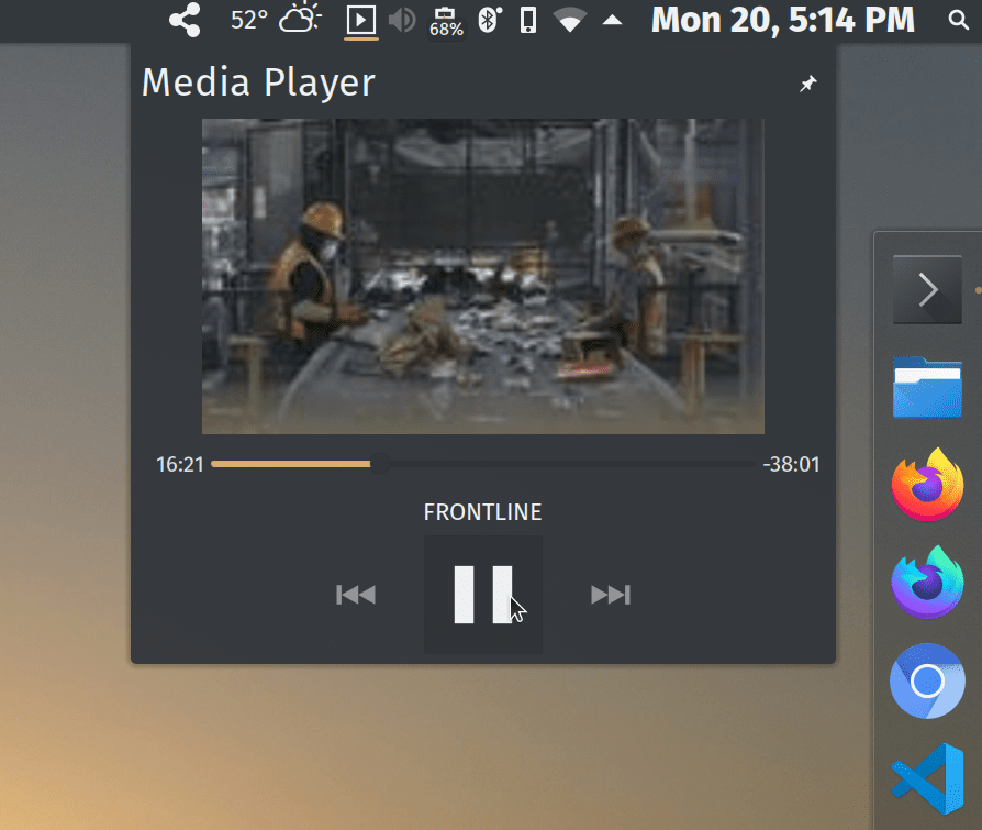 An MPRIS interface on Plasma Desktop.