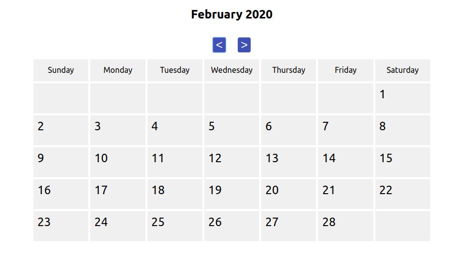 The styled calendar
