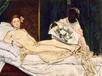The defiant gaze of Olympia, shown at the Salon in 1865: she wasn't going to apologise for her way of life! The public outrage was so extreme that Manet travelled to Spain to escape from it.
