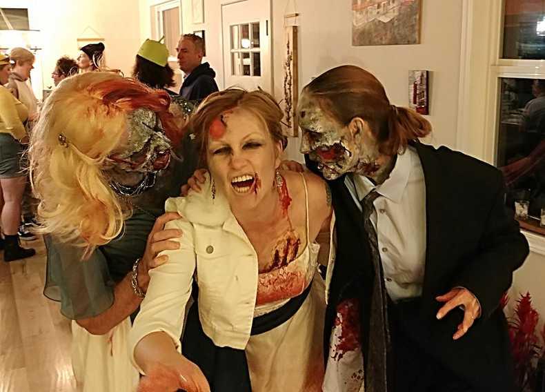 Three zombies at Halloween