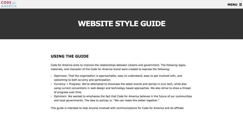 Code for America Style Guide