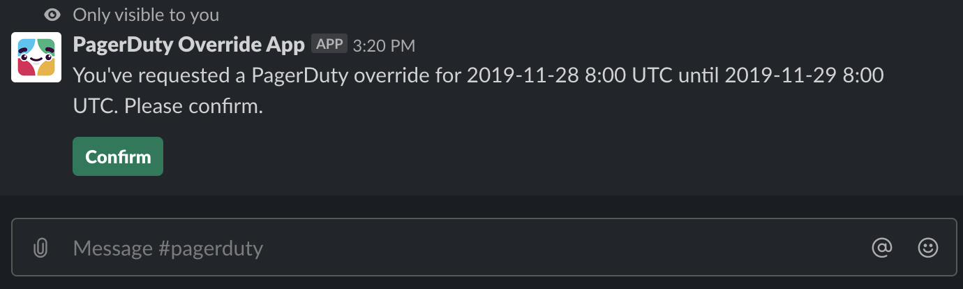 Picture of Slack message to confirm override request details