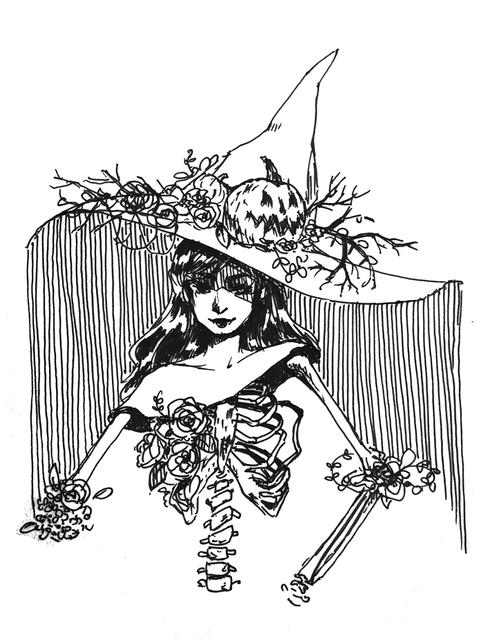 Female character with a big witch hat, exposed ribcage, and flowers growing around her.