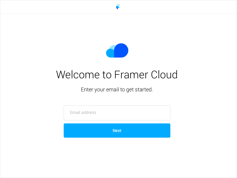 Framer Cloud login screen