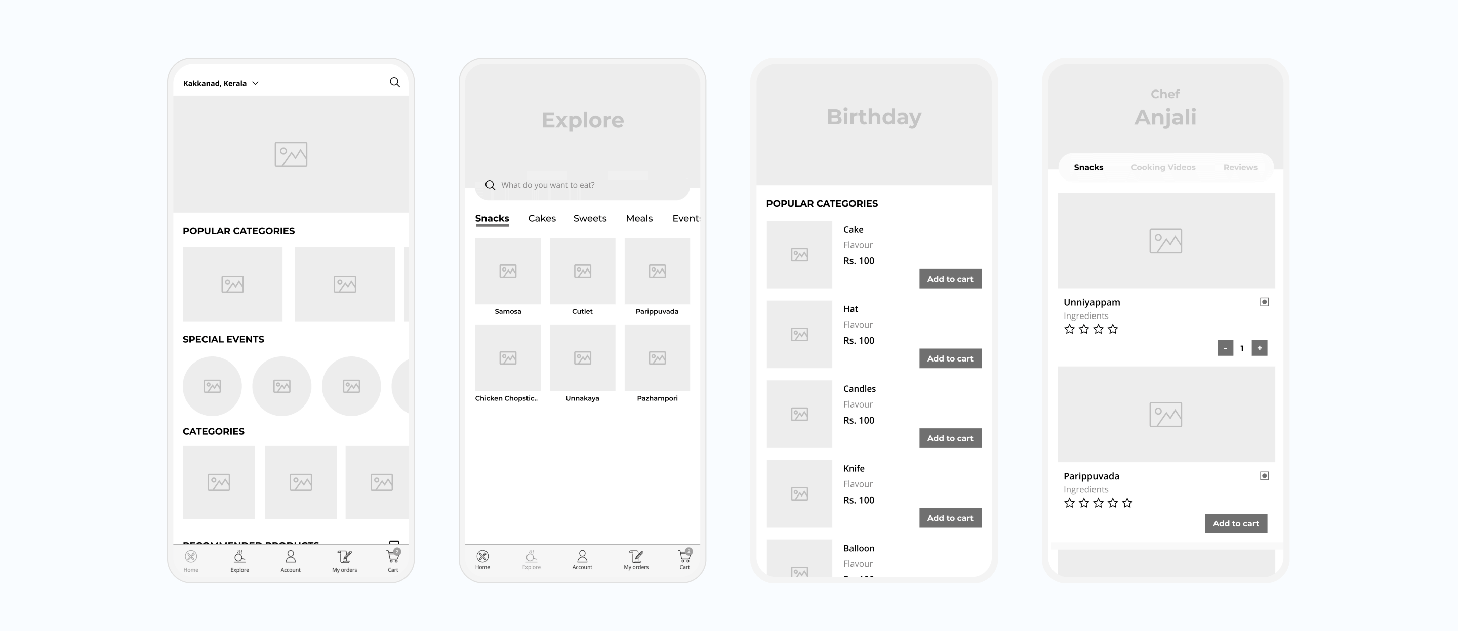 Food delivery app wireframe