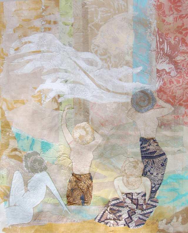Bali Jiwa 1, woodblock acrylic on paper