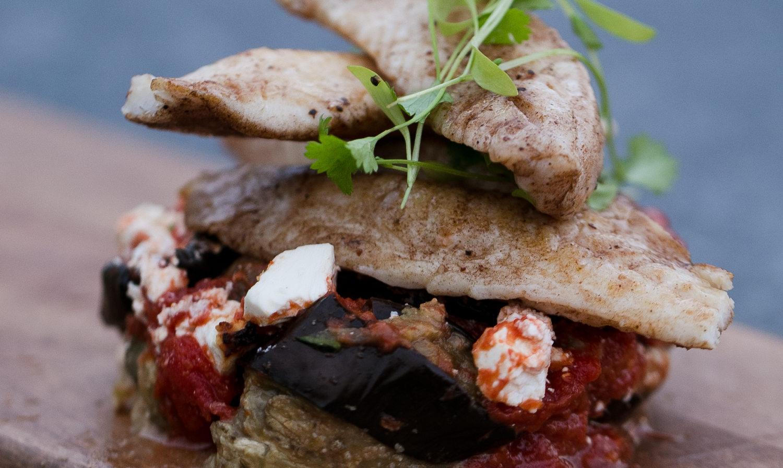 Fish with eggplant, almond and preserved lemon bake