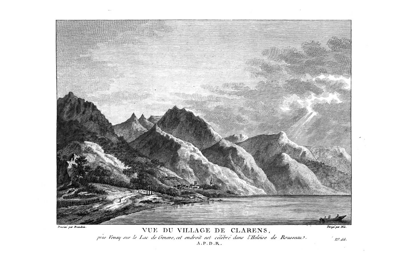 Вид на деревню Кларан в Швейцарии, которая упоминается в книге Жан-Жака Руссо «Юлия, или Новая Элоиза». 1780