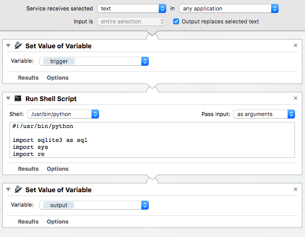 Automator workflow: Insert snippet