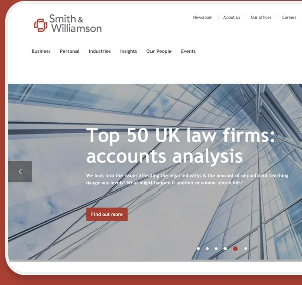 A web design mockup of the new Smith and Williamson homepage built on Umbraco by Cogworks Umbraco Gold Partner Agency London
