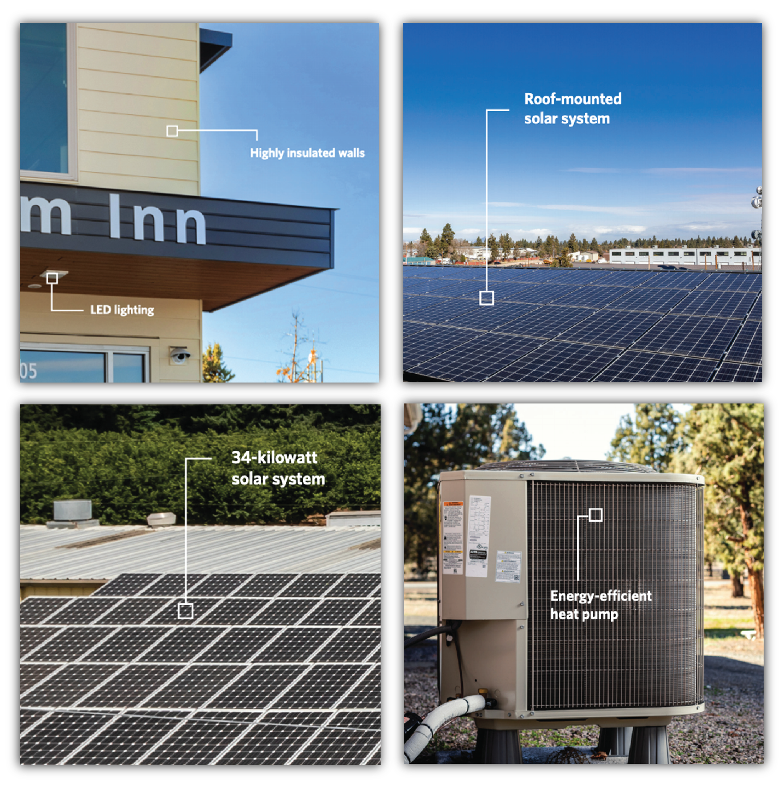 4 sqaures that capture the energy square call outs. One is a roof, one is an air conditioning unit, one is a and two are solar grids