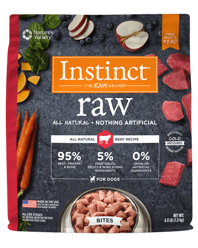 Image of the Instinct Raw dog food packaging