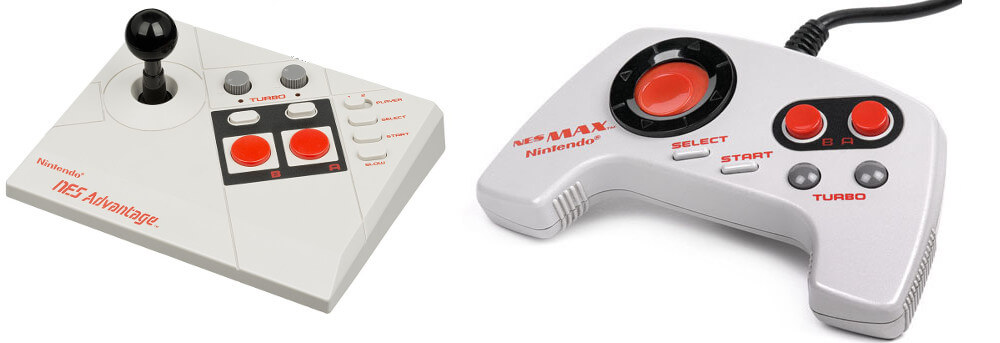 """A photo of a pair of controllers for the Nintendo Entertainment System (or NES). On the left is an Advantage Stick which, like the Power Stick, aimed to recreate the look and feel of an arcade cabinet, and on the right is a MAX with a more ergonomic """"boomerang"""" design than the original, rectangular NES controller"""