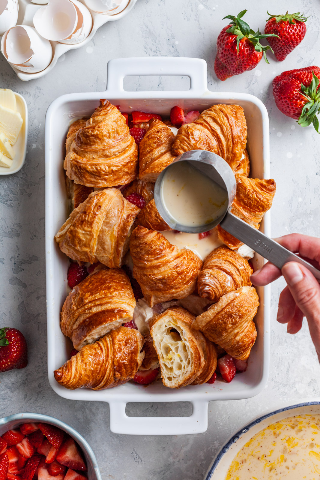 Croissant Baked French Toast With Strawberries and Cream