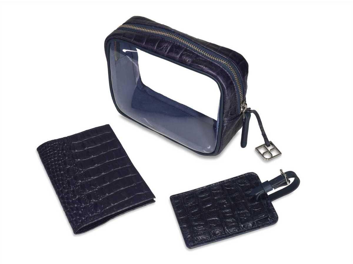3-Piece Travel Set - croc navy blue