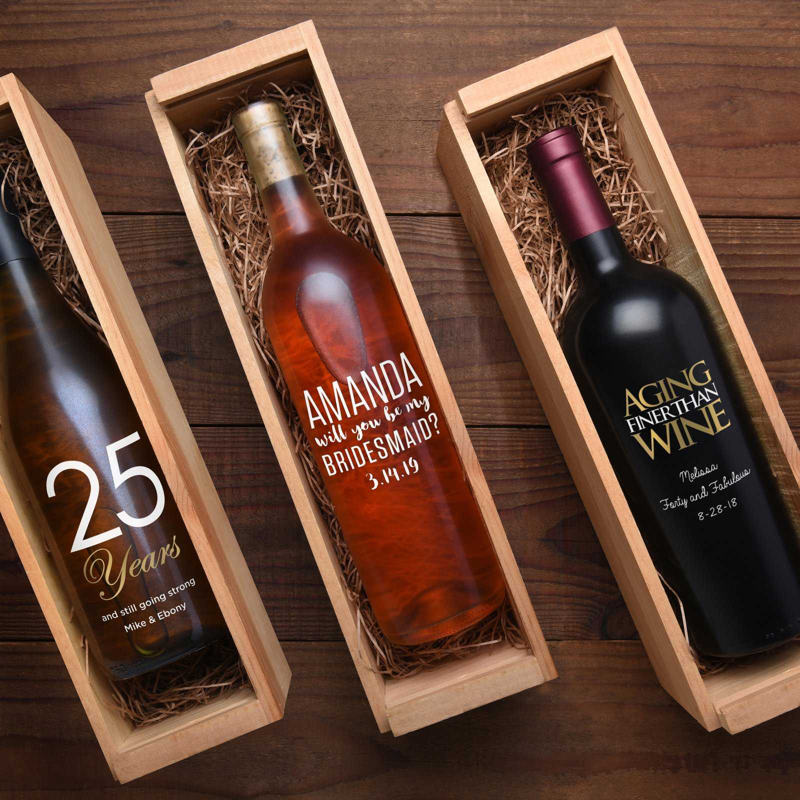 Customized engraved wine bottles in wine boxes