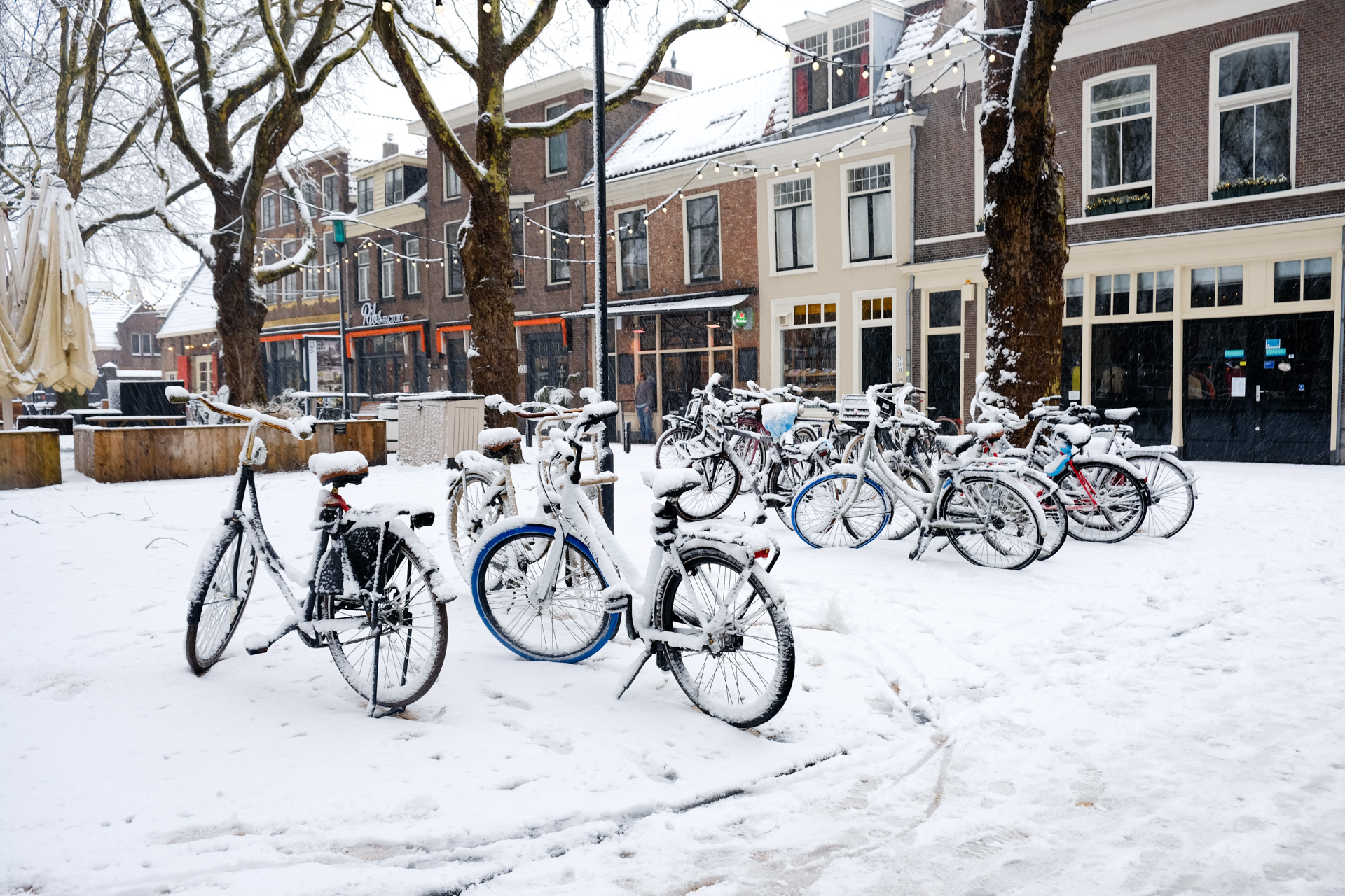 Snow-covered bikes