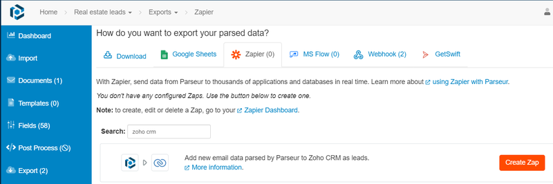 Click on create zap in the Parseur app