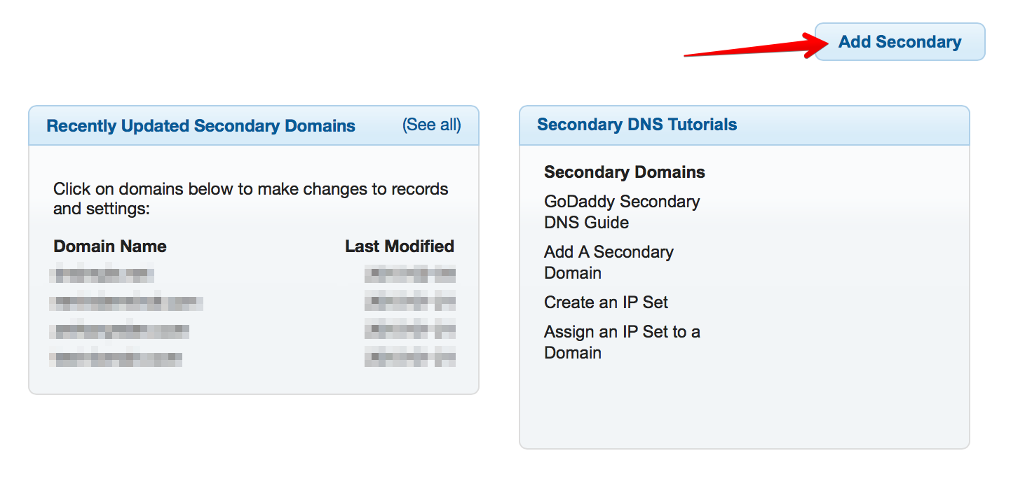 DNSMadeEasy adding secondary button
