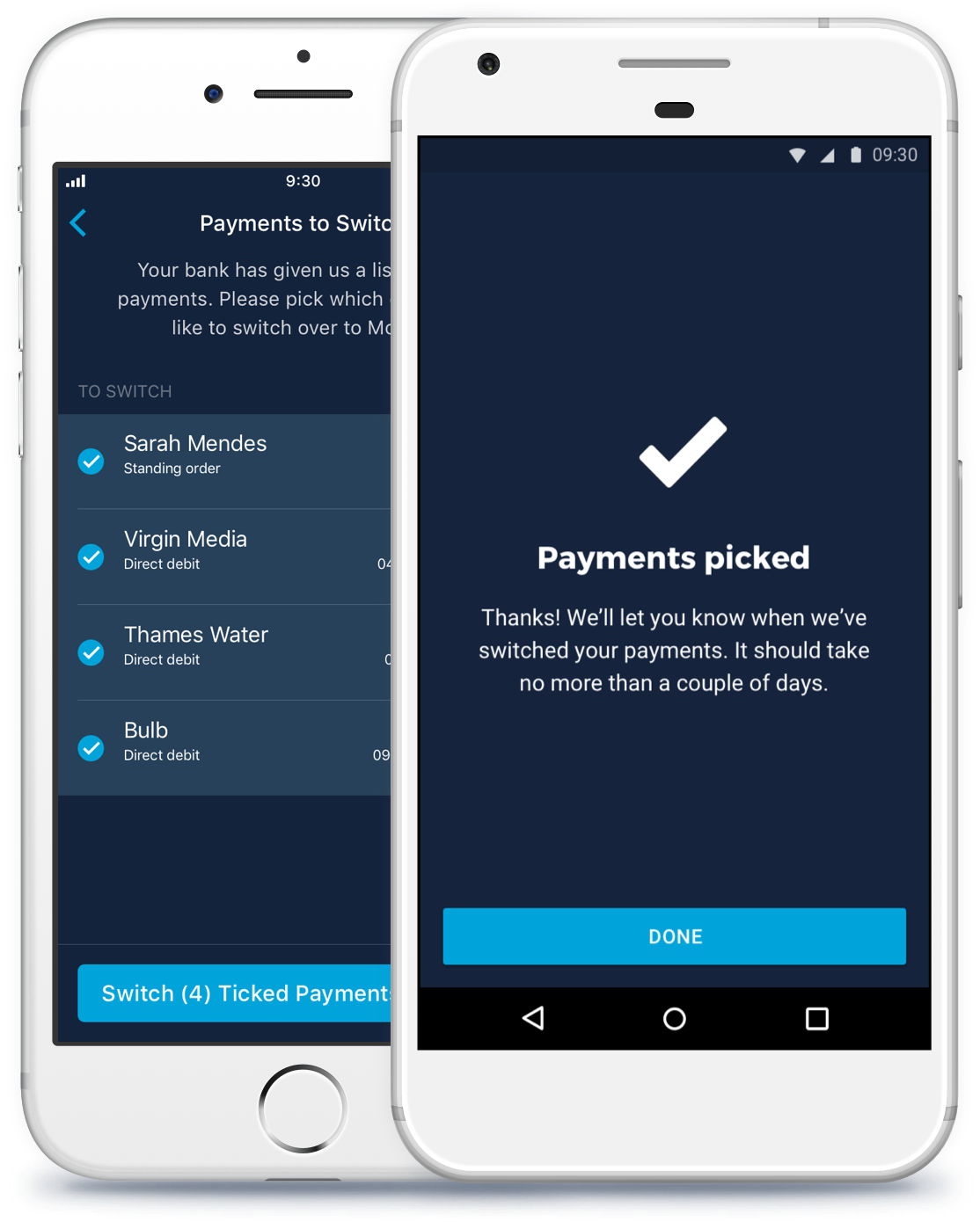 Picking payments within the Monzo app for iOS and Android