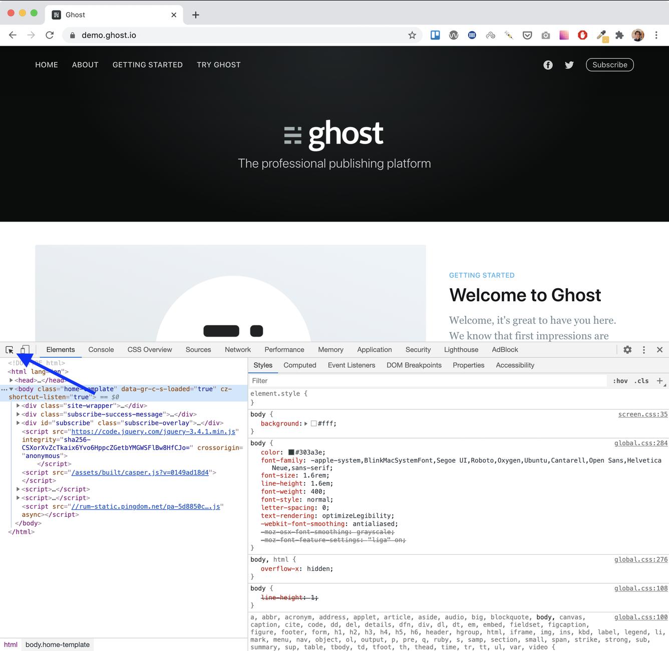 Google Chrome Dev Tools Inspect Icon
