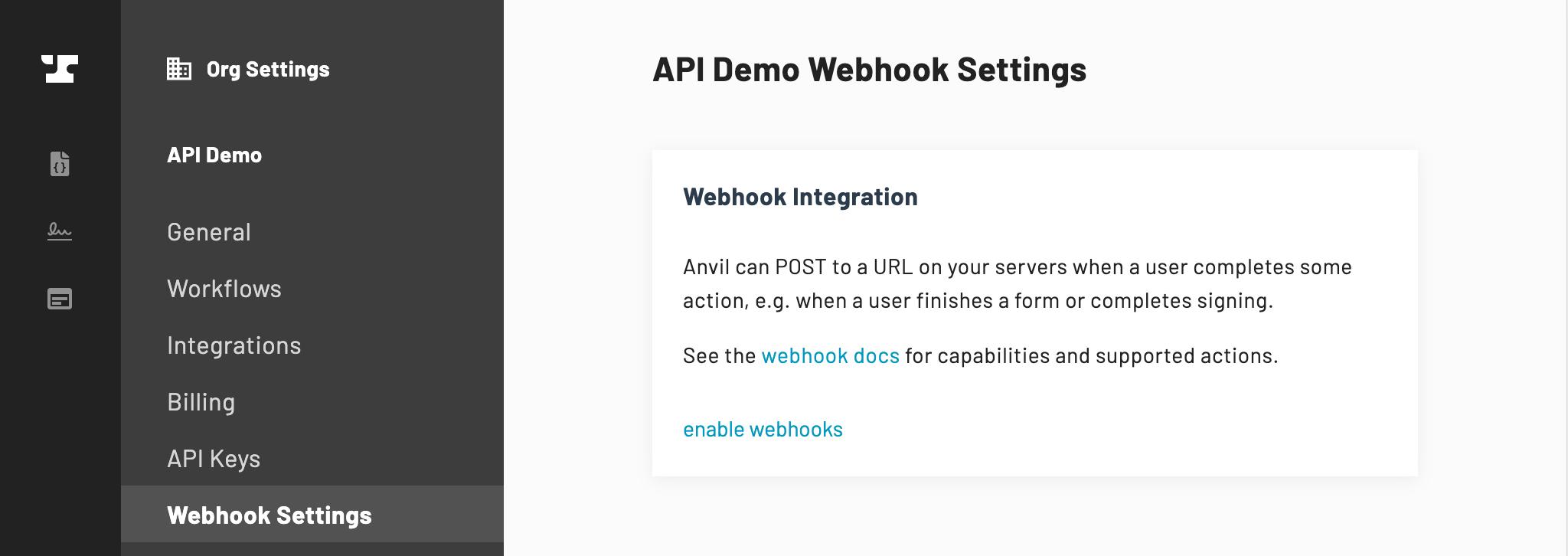 Webhook Settings