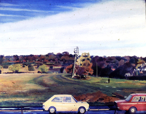 right hand panel depicting yellow and red cars on road with fields in background