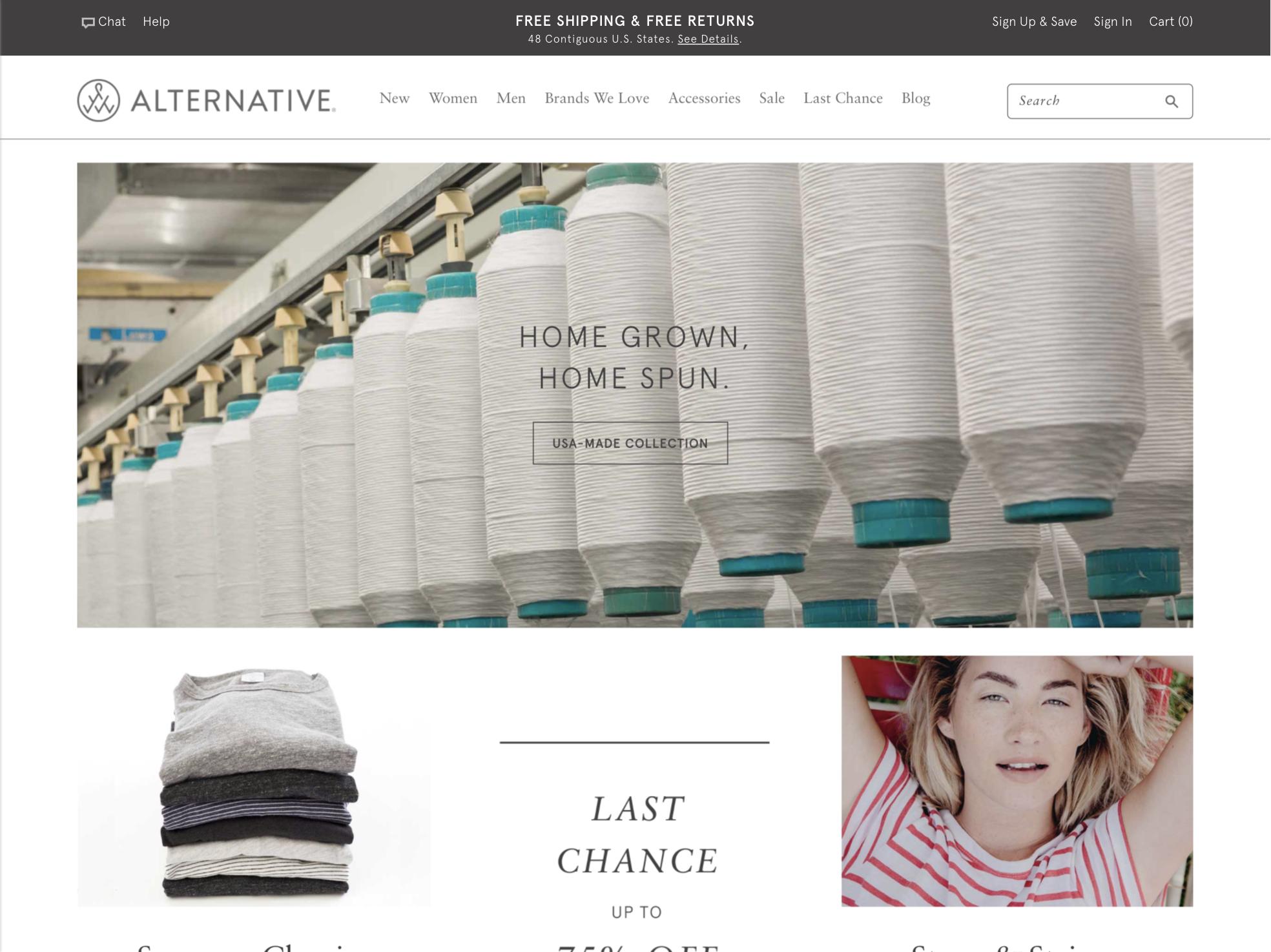Alternative Apparel home page