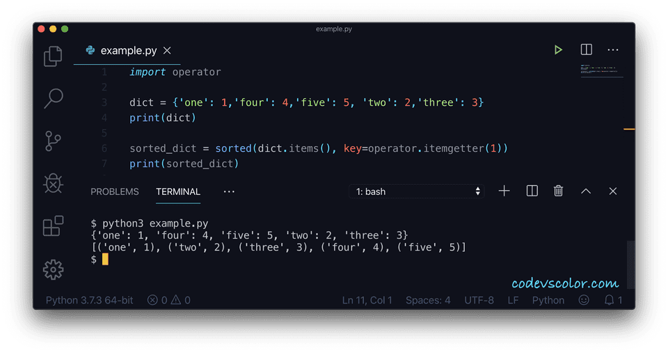 Python sort dictionary operator