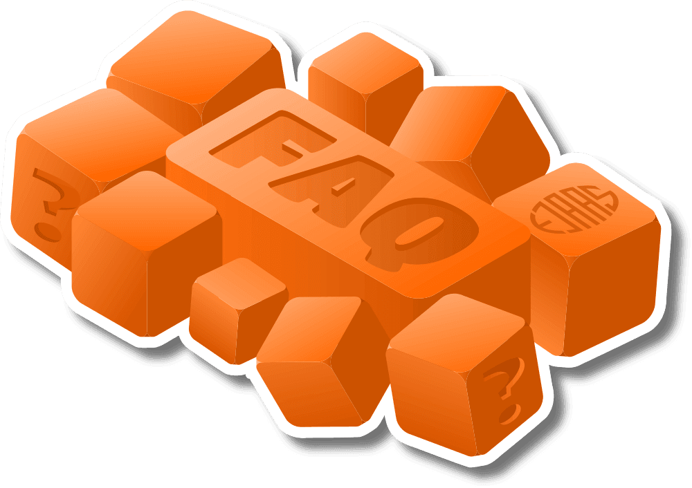 Forskellige orange terninger med FAQ - frequently asked questions