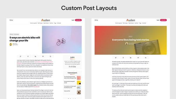 Auden Ghost Theme custom post layouts