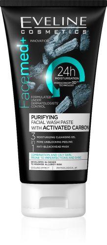 EVELINE Facemed+ 3 az 1-ben tisztító arclemosó mattító krém aktív karbonnal 150ml