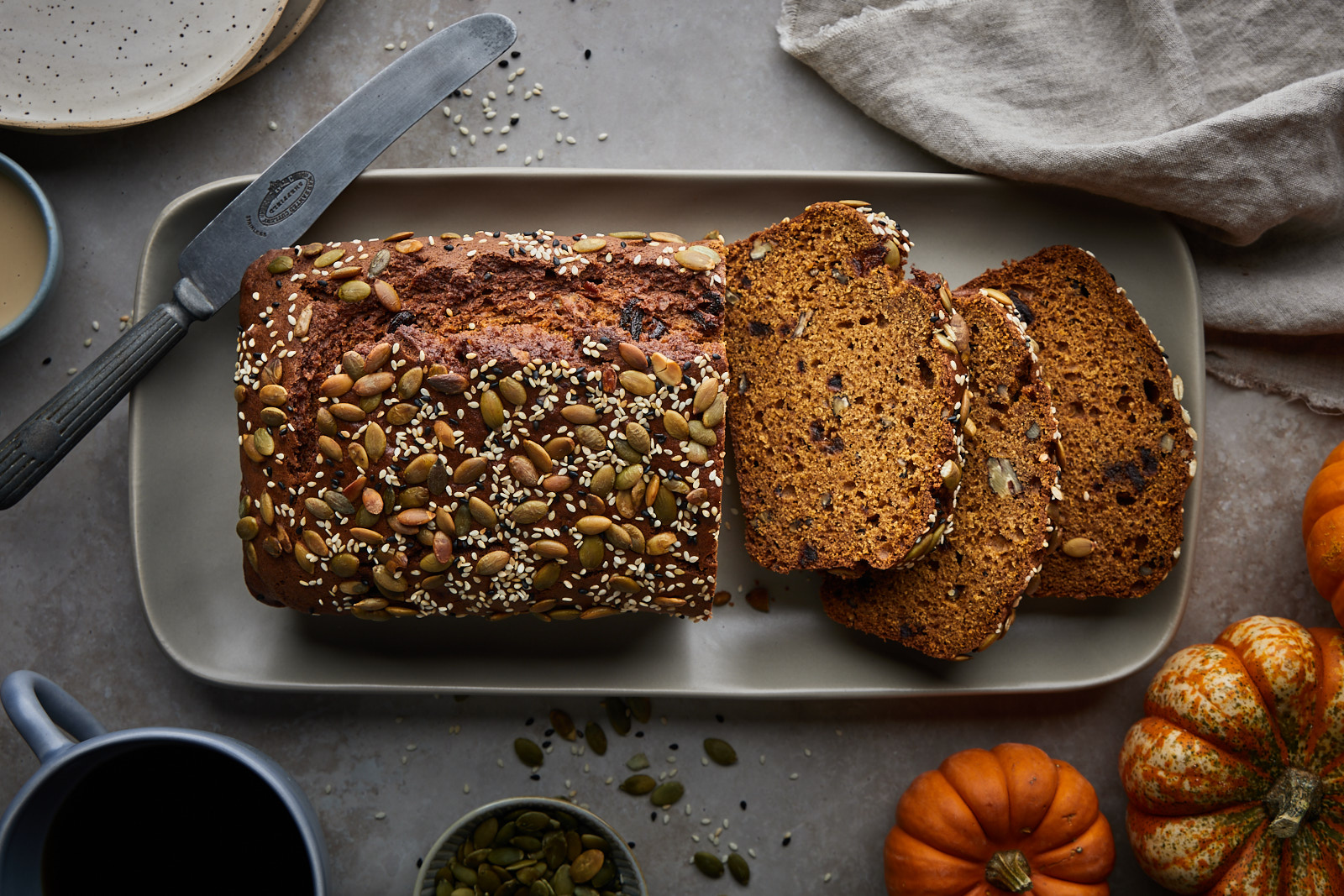 Pumpkin Tahini Date And Nut Bread