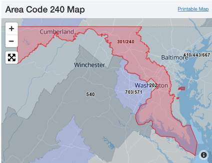 Territory comprising area code 240 Maryland. Graphic from MyMiltia\[dot\]com where members in said area code were encouraged to form up. Lemp made III%er recruitment posts on the MyMilitia site and was a member of the 'Area Code 240 Militia'