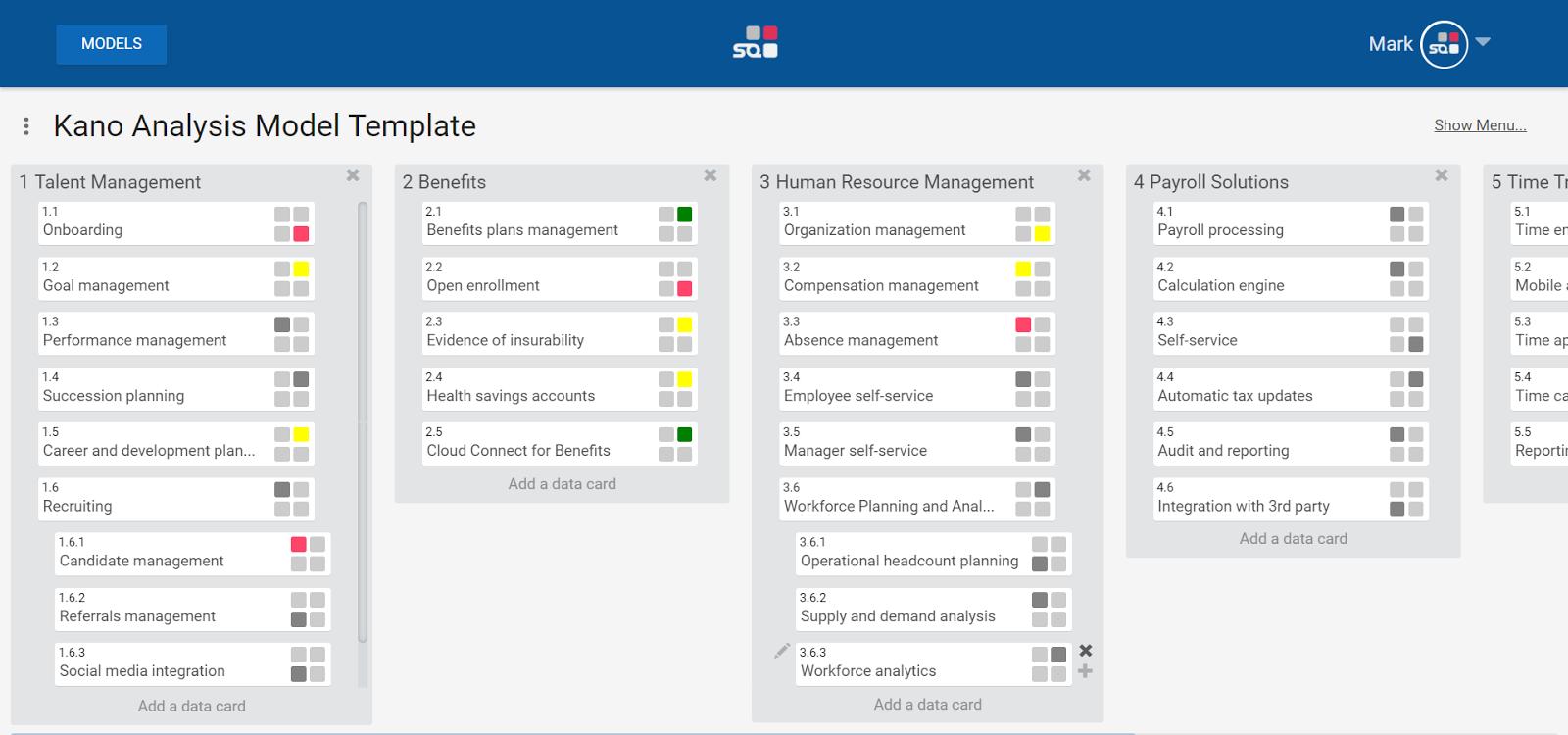 Kanban boards for product priority matrix in Strategic Quadrant