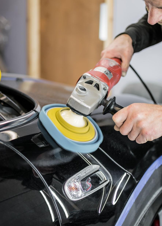 Car being machine polished