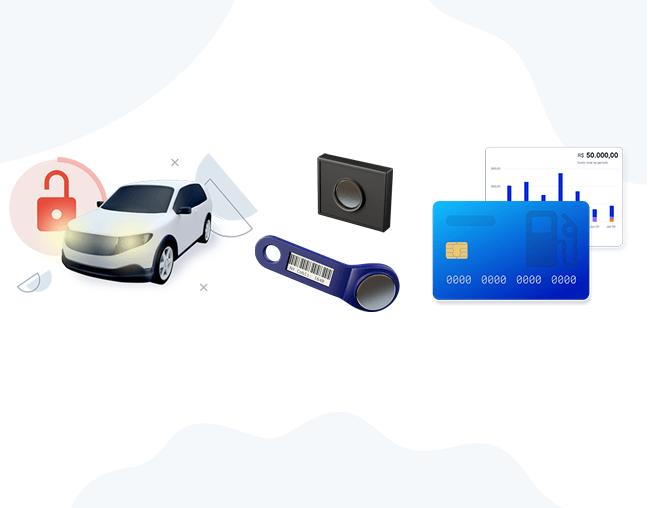 Bloqueador veicular, chaveiro de identificação e cartão combustível da cobli