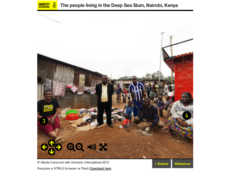 Screenshot of project about the people living in the Deep Sea Slum, Nairobi, Kenya