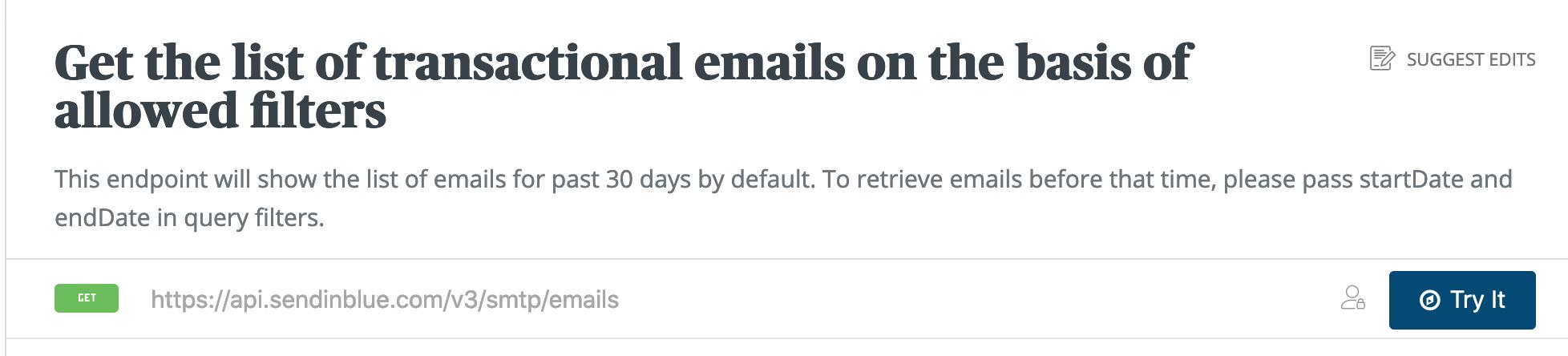 Screenshot der Sendinblue API Dokumentation - Funktion 'Get the list of transactional emails on the basis of allowed filters'